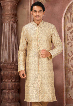 Embroidered Art Silk Front Open Kurta in Beige