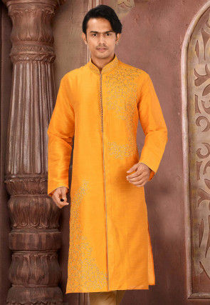 Embroidered Art Silk Front Open Kurta in Mustard