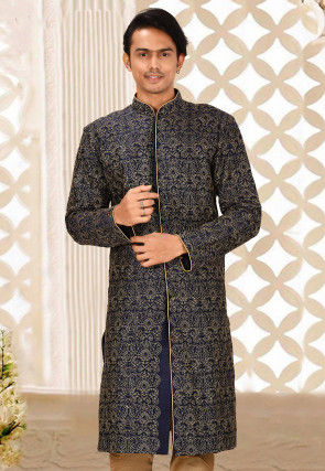Embroidered Art Silk Front Open Kurta in Navy Blue