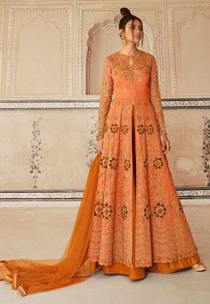 Embroidered Art Silk Front Slit Abaya Style Suit in Orange