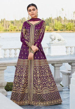 Embroidered Art Silk Front Slit Abaya Style Suit in Purple