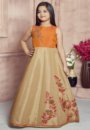 Embroidered Art Silk Gown in Beige and Orange