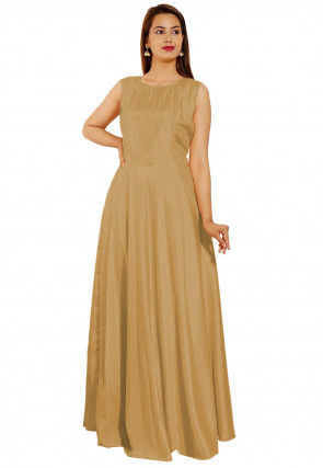 Embroidered Art Silk Gown in Beige