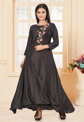 Embroidered Art Silk Gown in Black