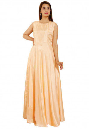 Embroidered Art Silk Gown in Light Peach