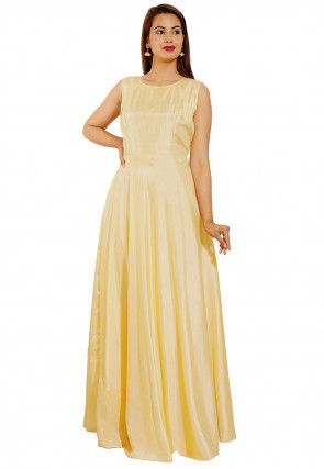 Embroidered Art Silk Gown in Light Yellow
