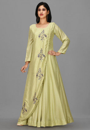 Embroidered Art Silk Gown in Pastel Green