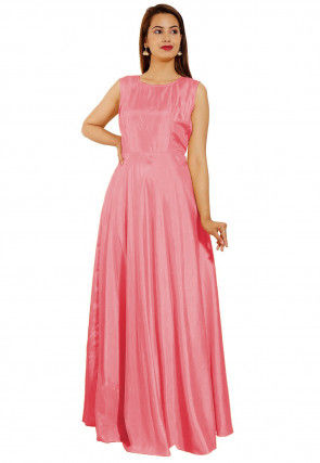 Embroidered Art Silk Gown in Peach