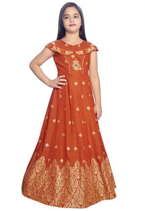 Embroidered Art Silk Gown in Rust