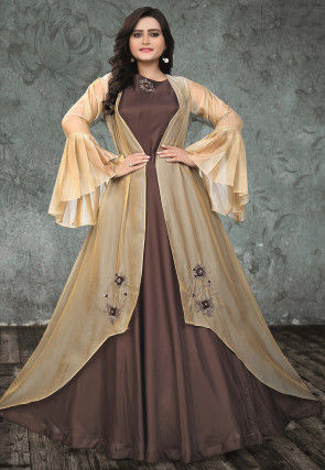 Embroidered Art Silk Gown with Jacket in Dark Fawn and Light Beige