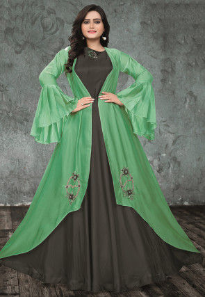 Embroidered Art Silk Gown with Jacket in Dark Grey and Pastel Green