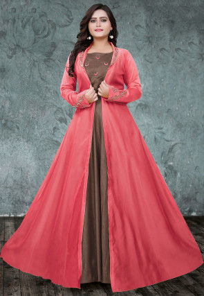 Embroidered Art Silk Gown with Jacket in Fawn and Coral Pink