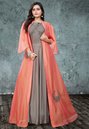 Embroidered Art Silk Gown with Jacket in Grey and Peach