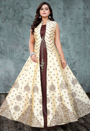 Embroidered Art Silk Gown with Jacket in Light Beige and Brown