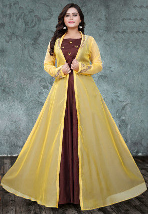 Embroidered Art Silk Gown with Jacket in Maroon and Yellow