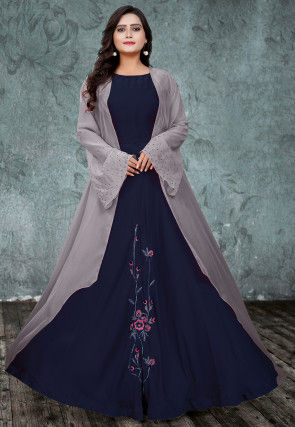 Embroidered Art Silk Gown with Jacket in Navy Blue and Grey