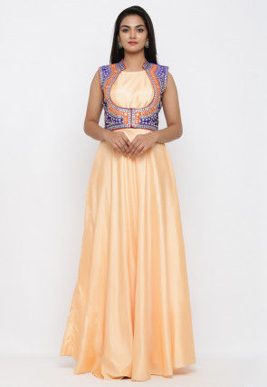 Embroidered Art Silk Gown with Jacket in Peach