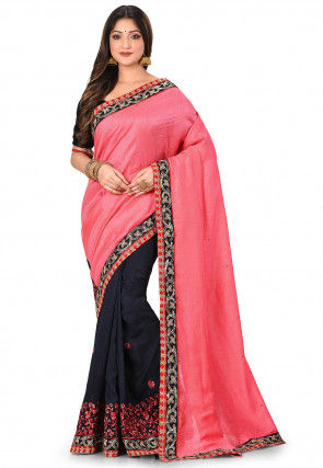 Embroidered Art Silk Half N Half Saree in Pink and Blue