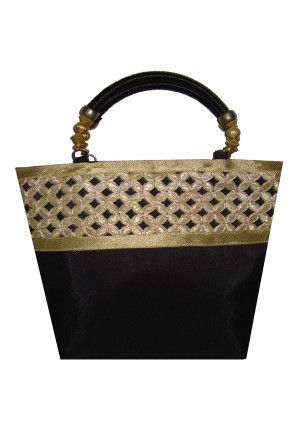 Embroidered Art Silk Hand Bag in Black