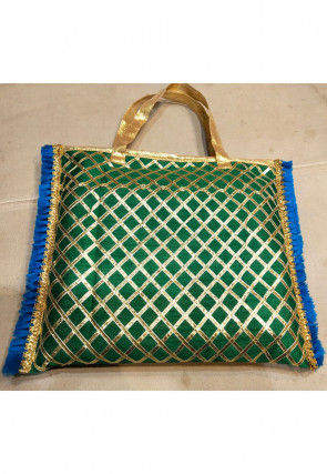 Embroidered Art Silk Hand Bag in Green