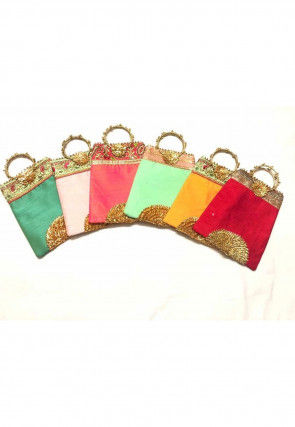Embroidered Art Silk Hand Bag in Multicolor