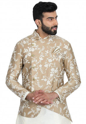 Embroidered Art Silk Jacket in Beige