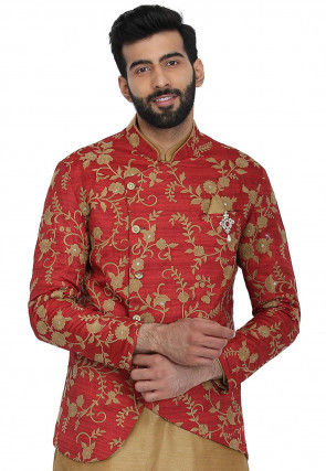 Embroidered Art Silk Jacket in Coral Red