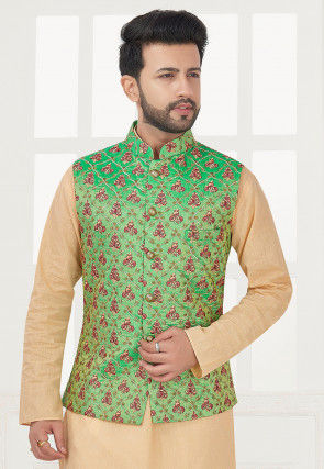 Embroidered Art Silk Jacket in Light Green