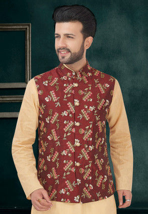 Embroidered Art Silk Jacket in Maroon