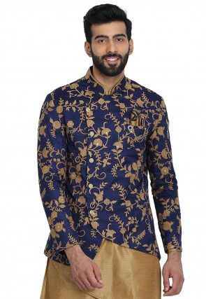 Embroidered Art Silk Jacket in Navy Blue