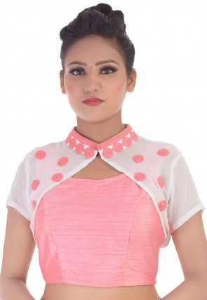 Embroidered Art Silk Jacket Style Blouse in Pink and White
