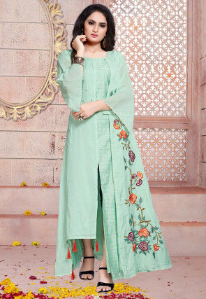 Embroidered Art Silk Jacket Style Gown in Sea Green