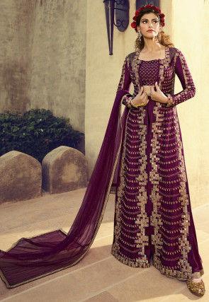 Embroidered Art Silk Jacket Style Pakistani Suit in Wine