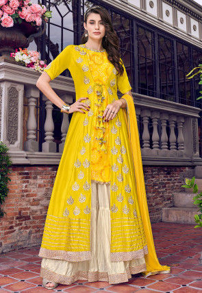 Embroidered Art Silk Jacket Style Pakistani Suit in Yellow