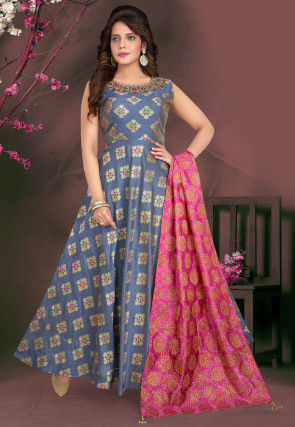 Embroidered Art Silk Jacquard Abaya Style Suit in Dusty Blue