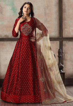 Embroidered Art Silk Jacquard Abaya Style Suit in Maroon