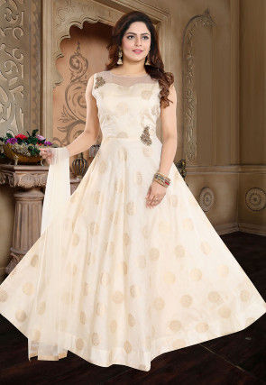 Embroidered Art Silk Jacquard Abaya Style Suit in Off White