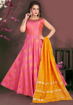 Embroidered Art Silk Jacquard Abaya Style Suit in Pink