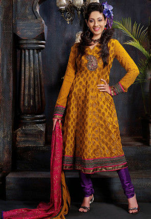 Embroidered Art Silk Jacquard Anarkali Suit in Mustard