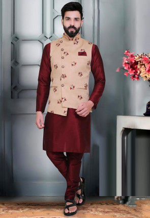 Embroidered Art Silk Jacquard Asymmetric Nehru Jacket in Beige