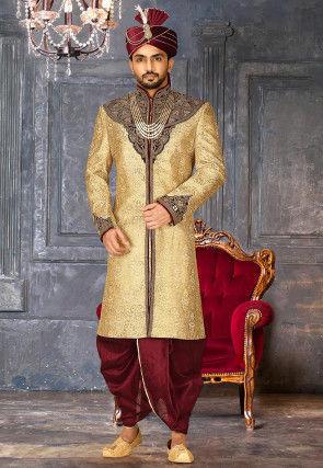 Embroidered Art Silk jacquard Dhoti Sherwani in Beige