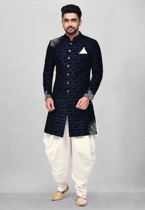 Embroidered Art Silk Jacquard Dhoti Sherwani in Navy Blue
