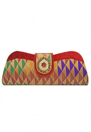 Embroidered Art Silk Jacquard Envelope Clutch Bag in Multicolor