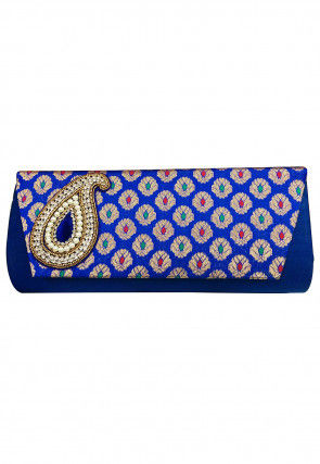 Embroidered Art Silk Jacquard Flap Clutch Bag in Navy Blue