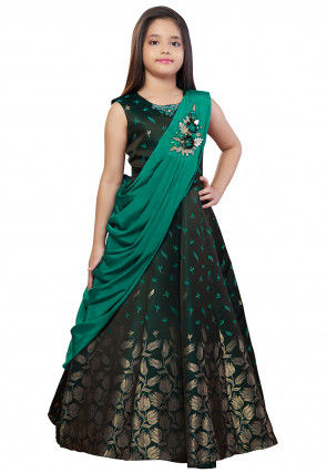 Embroidered Art Silk Jacquard Gown in Dark Green and Teal Green
