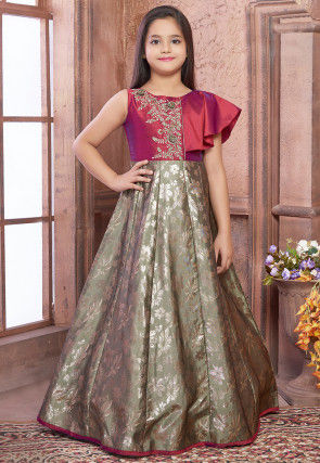 Embroidered Art Silk Jacquard Gown in Dusty Green and Maroon