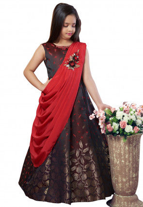 Embroidered Art Silk Jacquard Gown in Maroon and Red