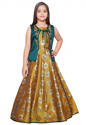 Embroidered Art Silk Jacquard Gown in Old Gold