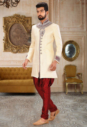 Embroidered Art Silk Jacquard Jodhpuri Suit in Cream