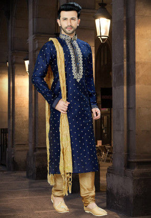 Embroidered Art Silk Jacquard Kurta Pajama in Navy Blue